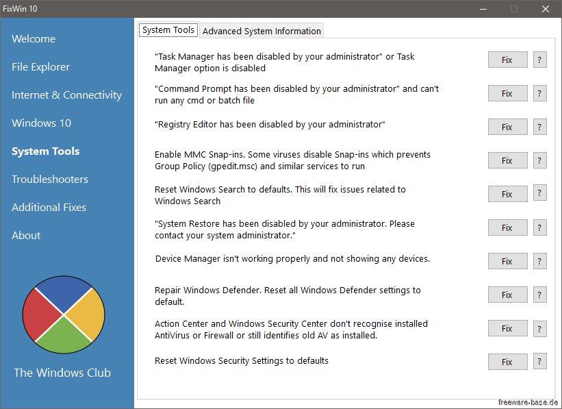 Vorschau FixWin 10 für Windows 10 - Bild 4