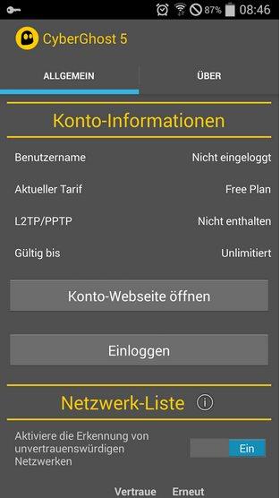 Vorschau CyberGhost VPN für Android - Bild 4